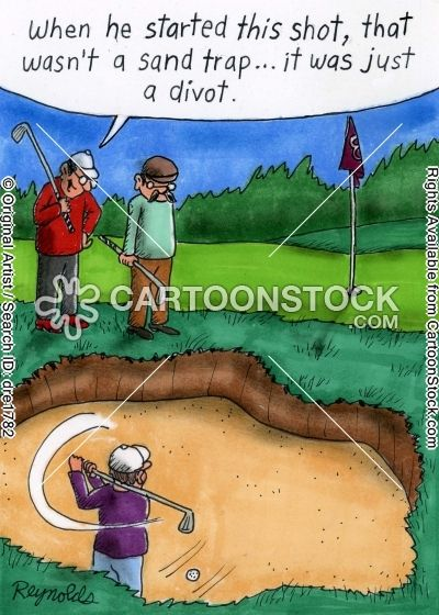 From divot to full blown sand trap. #golfcartoon #golfcomics #golfbunker: