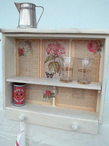 Repisa de madera con estante de caj n reciclado shabby chic ideas tiles pinterest chic - Estante con cajon ...