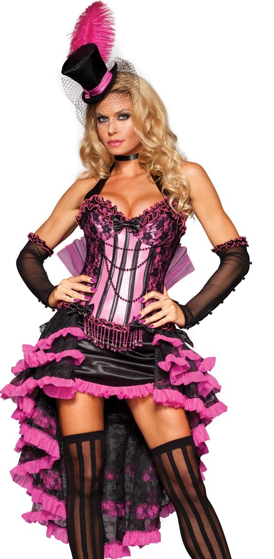 check out our sexy new black and pink burlesque costume