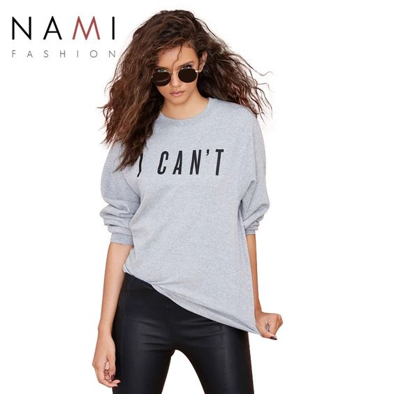 Causal Letters Printed Full Gray Sport Pullover Hoodes Sweatshirt 2015 Brand Spring Autumn O Neck Women Hoodies