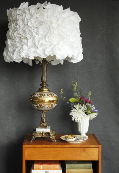 Make Your Own Ruffled Lampshade (http://blog.hgtv.com/design/2014/04/01/transform-a-vintage-lampshade-with-ruffles/?soc=Pinterest)