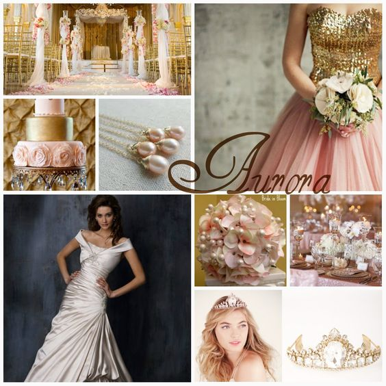 "Wedding ideas for Princess Aurora aka Sleeping Beauty include colors like blush pinks, golds and ivories, as well as glamorous tables, tiaras and pearls. This is a very ""girly"" wedding theme, with a vintage touch."