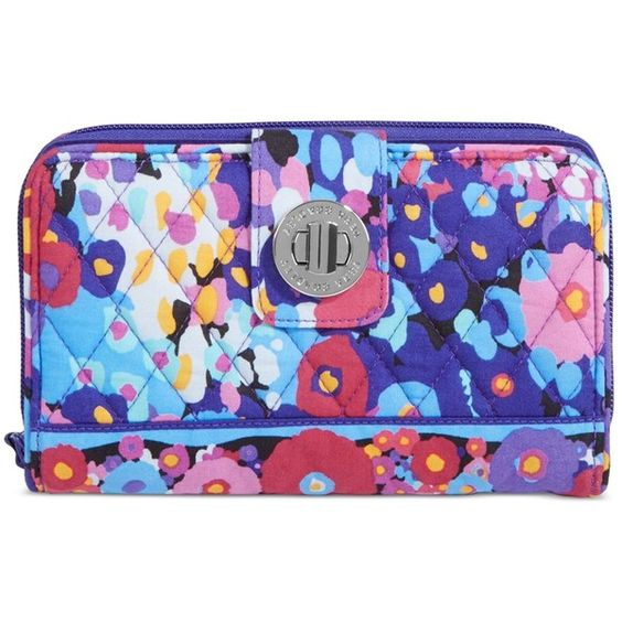 Vera Bradley Turn Lock Wallet ($49) ❤ liked on Polyvore featuring bags, wallets, impressionista, blue bag, blue wallet, vera bradley bags, clasp wallet и print wallets