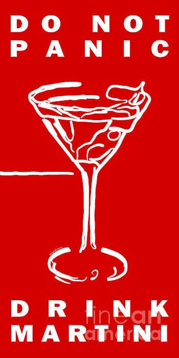 Do Not Panic - Drink Martini - Red - Wingsdomain Art and Photography