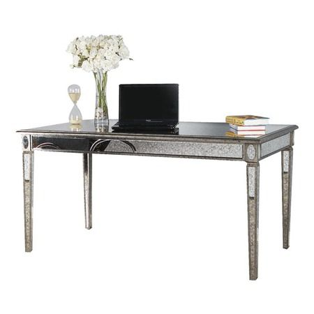 I pinned this Lusetta Desk from the Cachet Decor event at Joss and Main! - From crafting to-do lists to penning your memoirs, the striking Lusetta Desk lends a glamorous flourish to correspondence. Handcrafted with a speckled mirrored finish, this handsome design brings shimmering appeal to your home office, bedroom, or den.