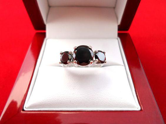 New 3 Carat Natural 3 stone Black Diamond Women's by PLDjewelry, $329.99