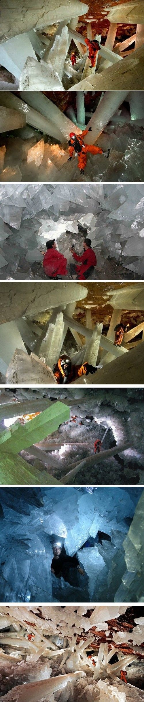 Cave of the Crystals is connected to the Naica Mine 980 ft. below the surface in Naica, Mexico. The main chamber contains giant gypsum crystals, some of the largest natural crystals ever found. The largest crystal found to date is 39 ft. long, 13 ft. in diameter and weighs 55 tons. The cave is extremely hot, with air temperatures reaching up to 136 °F with 90 - 99 percent humidity. Without proper protection, people can only endure about 10 min. of exposure at a time.