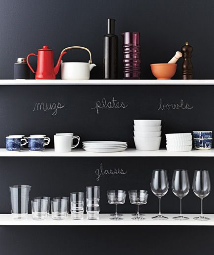 Consider stacking everyday dishes on open shelving (with a chalkboard background). They won't stay on the shelf long enough to gather dust.
