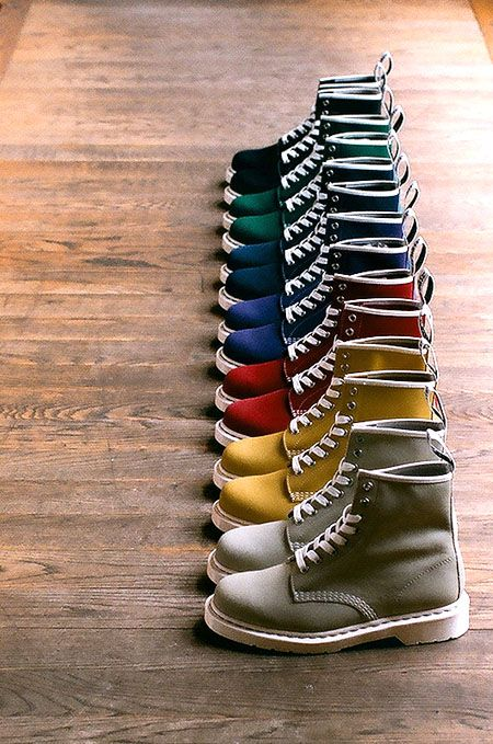 BOOT RAINBOW: Dr Martens, Men'S Boots, Mensfashion, Color Shoes, Colors Shoes, Men S, Mens Footwear