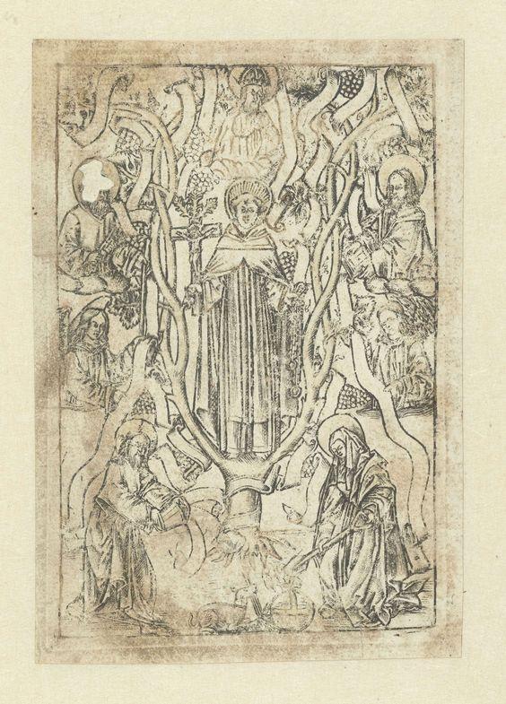 anoniem | Heilige Dominicus, attributed to Monogrammist S (16e eeuw), 1510 - 1530 | Dominicus in boom met crucifix in rechterhand. Maria met schep en Christus met emmer bij stam. Om de boom: twee engelen, Petrus, apostel en God de Vader. Latere afdruk van versleten plaat, bijgewerkt met pen.