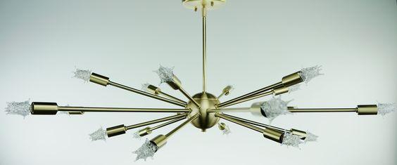 """Gamma"" Brushed Brass finish Atomic Chandelier. Flatter shape. 18 arms, 24"" in diameter."