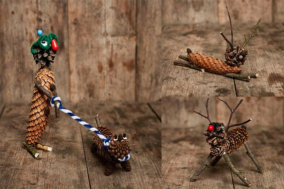Discover the Autumn. The forests and nature are inviting to creativity! # Funny figures of spruce cones.