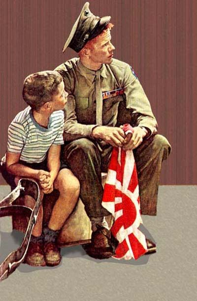 A number of Rockwell Post covers have become iconic — classics we all recognize right away. Some of the wartime covers we show you here may be some of the illustrator's finest work, yet they are seldom seen. We view them this Memorial Day weekend to honor those who have served and those who serve today.