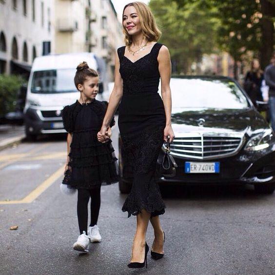 Beautiful Ulyana Sergeenko with her daughter Vasilisa before dolce gabbana Fashion Show