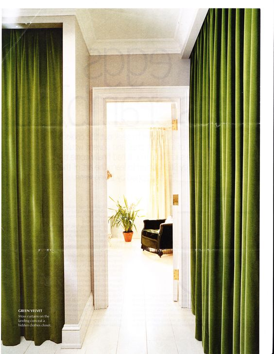 Green Velvet Drapes Line A Hall In Elliott Puckette S Brooklyn Brownstone Green Curtains Living Room Home Curtains Luxury Curtains