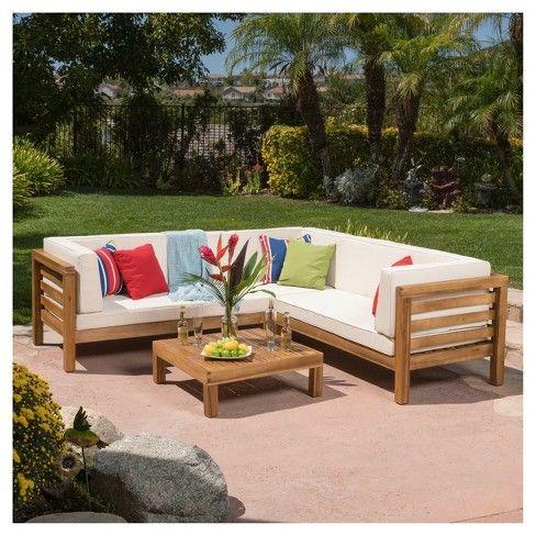 Oana 4pc Acacia Wood Sectional Chat Set W Cushions Beige Christopher Knight Home Palettenmobel Im Freien Sitzgruppe Holzpaletten Mobel