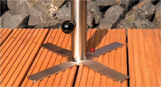 Schöne und standsichere Sonnenschirmständer, Tische, Podeste und Aufhängungen für Hängematten aus Edelstahl für Holzdecks.