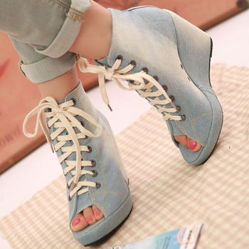Womens Shoes Summer Canvas 2015 Denim Blue Platform Wedges High Heels Peep Toe Lace Up Sandals Ankle Boots Booties New Arrival
