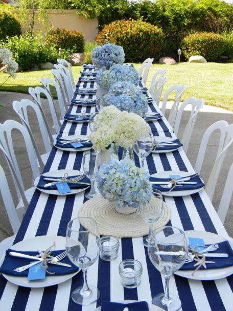 Blue white striped hydrangea wedding table