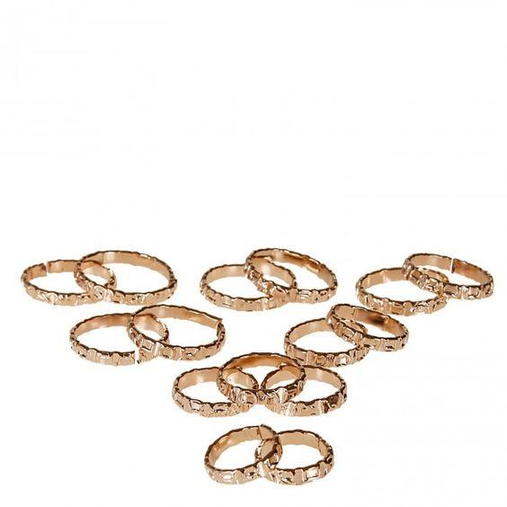 Kit 15 anéis Fashionista Dourado