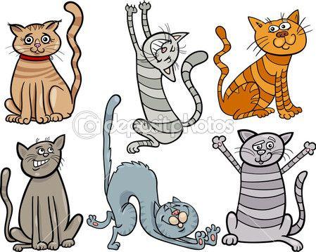 gatos engraçados definir ilustração dos desenhos animados — Ilustração de Stock #33053051