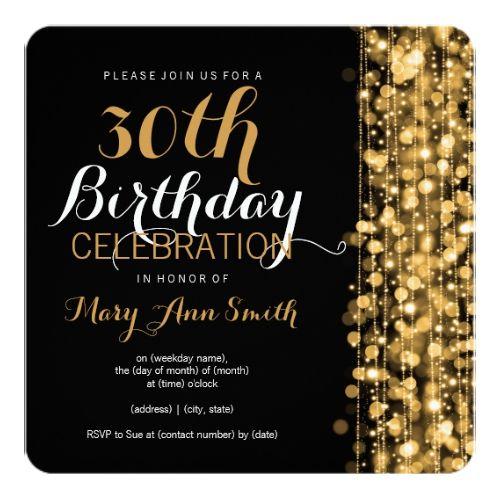 Elegant Gold 30th Birthday Party Sparkles Invitation Zazzle Com 30th Birthday Party Invitations 30th Birthday Invitations 30th Birthday Parties