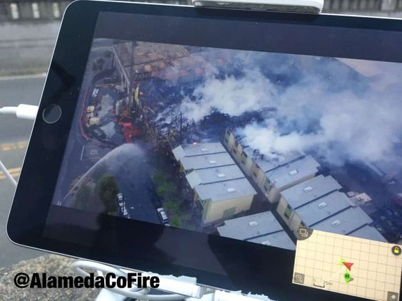 An aerial view of the 6-alarm fire via Alameda County Sheriff's Office drone. Photo: Alameda County Fire Dept.