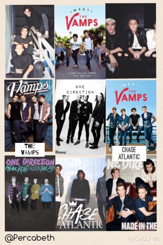 Credit @Percabeth These are the three bands that I am absolutely obsessed with: One Direction, The Vamps, and Chase Atlantic. :D