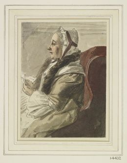Explore the Collection Paul Sandby (1731-1809)  An old lady playing cards  circa 1755 A pen and ink and watercolour drawing of an old lady in a fur collar and white cap playing cards, seated in a crimson upholstered chair.