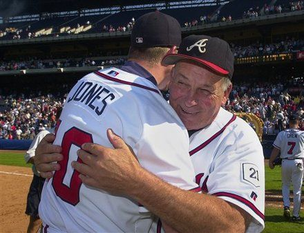 Atlanta Braves (former) manager Bobby Cox hugs Chipper Jones.  We miss you, Bobby Cox!
