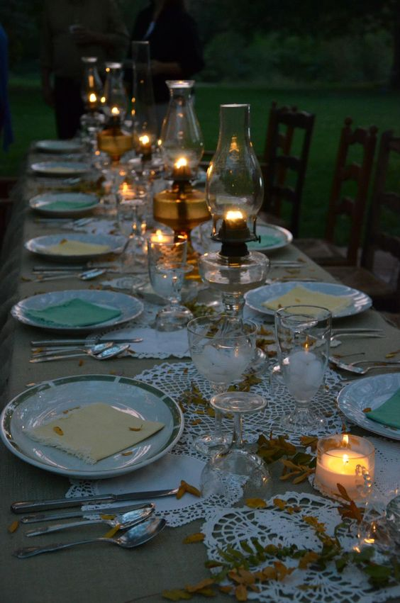Antique Oil Lamps are perfect for a fall evening garden party:
