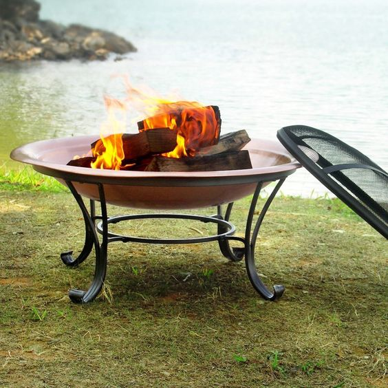 Venice Copper Finish Fire Pit with FREE Cover | from hayneedle.com