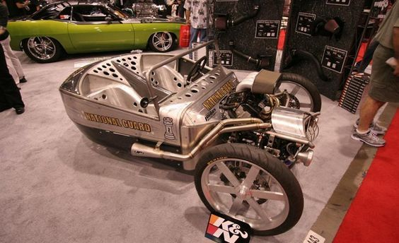 Jesse Rooke normally builds custom motorcycles, but when air-filter maker K&N contacted him about building a special vehicle for SEMA, this was the result: an awesome three-wheeler in the tradition of the Morgan trike, but with a lot more power. This speedy bathtub uses the powertrain from a Suzuki GSX-R1000, which makes 191 hp and should be good for plenty of terrified screams.