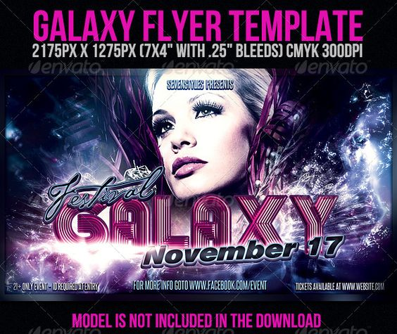 Galaxy Flyer Template | Glow, Follow me and Party events