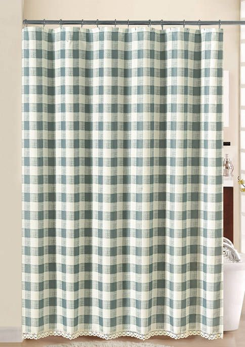 Southern Belle Check Lace Shower Curtain In 2020 With Images