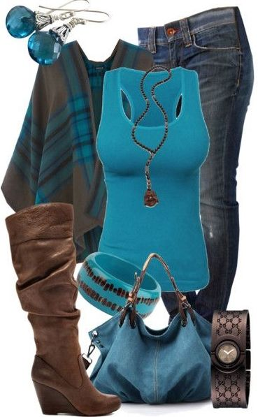 Blue & Brown Fall outfit.  love the bag!  Love these colors!