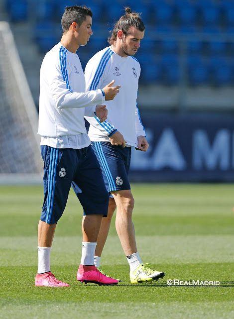 Ronaldo and Bale. Champions League Training session.