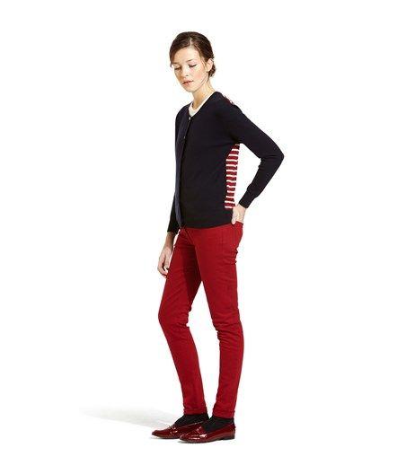 Cardigan femme en tricot laine et coton uni et jersey rayure marinière