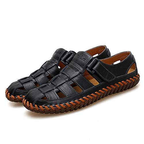 Mens Leather Breathable Close-Toe Shoes Non-Slip Summer Adjustable Beach Fisherman Slippers Outdoor