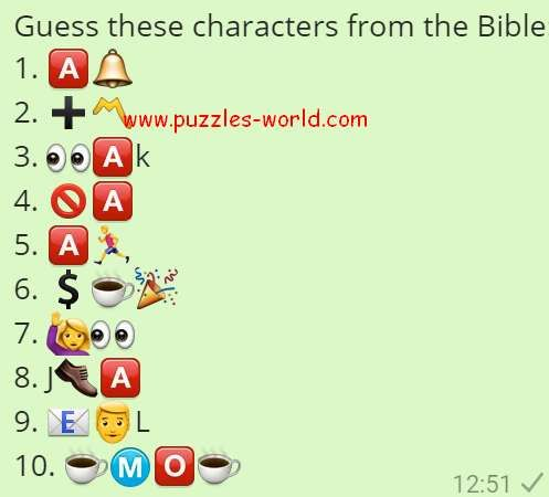 Guess These Characters From The Bible Emoji Quiz Bible Picture Puzzles
