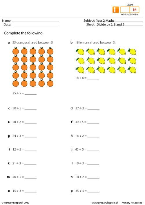 PrimaryLeapcouk Divide by 2 3 and 5 mixed Worksheet – Division Worksheets Primary Resources