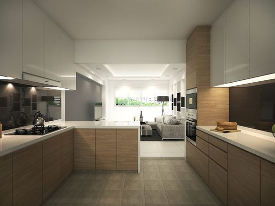 Kitchen Design Singapore hdb 4-room with modern bright and airy feel - interior design