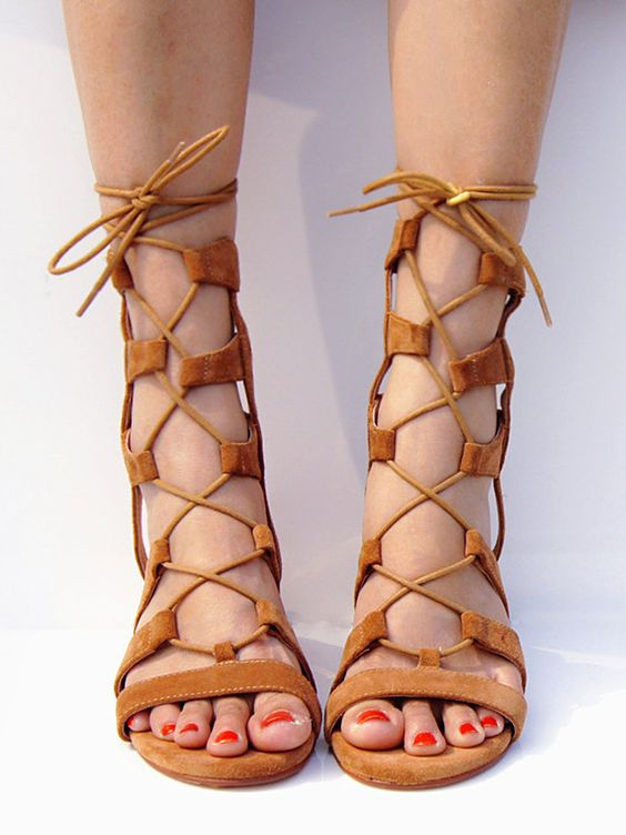 Brown Suede Lace-up Gladiator Sandals with Gold Heels - Choies.com