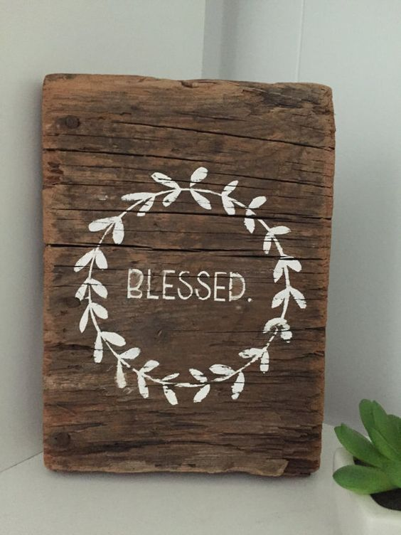This adorable rustic blessed sign is made from over 100 year old barn reclaimed barn wood. Its one of a kind texture and charm is perfect for