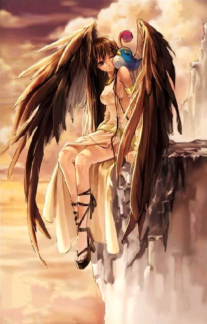 angel with brown wings anime angels and demons