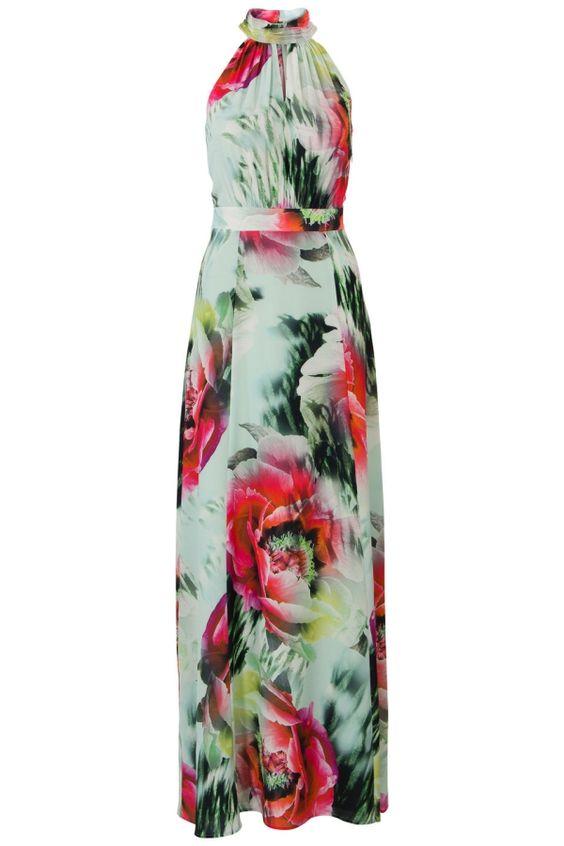 Lange jurk met bloemenprint Mintgroen
