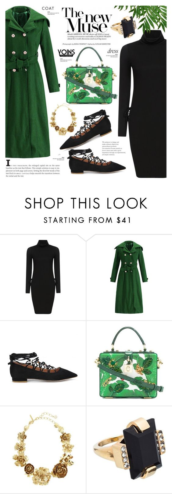 """""""Black dress - Yoins 5.6"""" by cly88 ❤ liked on Polyvore featuring Dolce&Gabbana, Oscar de la Renta and Marni"""