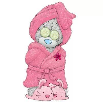 Tatty teddy in bathrobe: