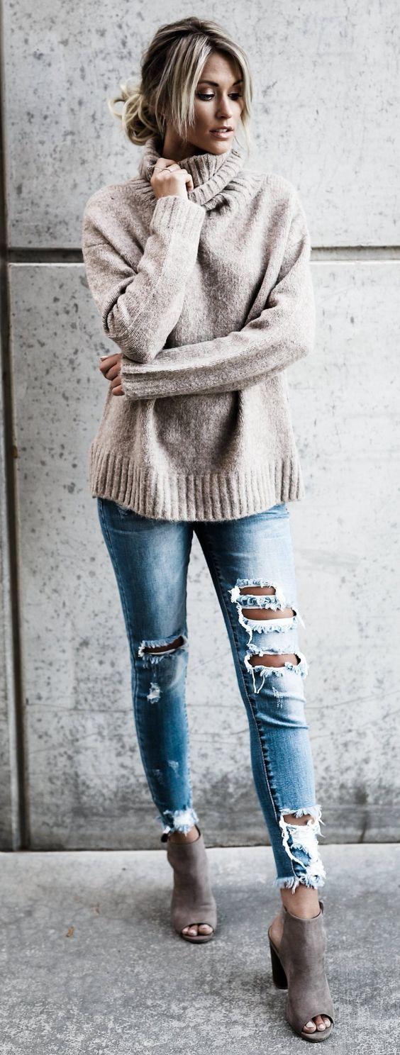 fall street style nude details + pale blue rips #omgoutfitideas #styleoftheday #womenswear