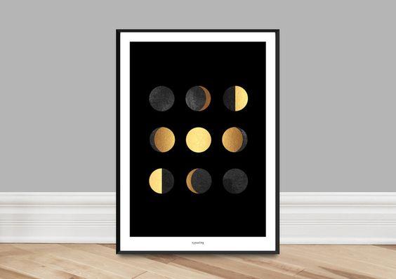Originaldruck - Kunstdruck Poster / Mondphasen (Fake Gold) - ein Designerstück von typealive bei DaWanda